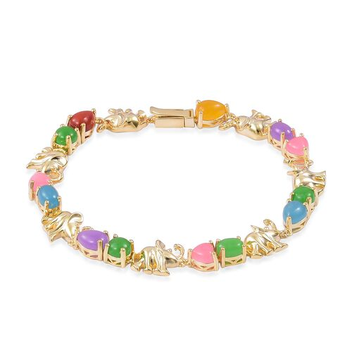 Blue Jade (Ovl 1.75 Ct), Red Jade, Yellow Jade, Green Jade, Purple Jade and Pink Jade Elephant Link Bracelet (Size 7) in Yellow Gold Overlay Sterling Silver 14.640 Ct.