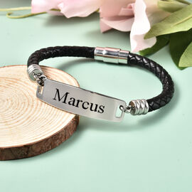 Personalise Engravable ID Bar Leather Bracelet in Silver Tone, 8 inch