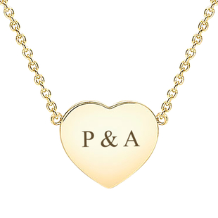 """Personalised 9CT Yellow Gold Heart Disc Necklace, Size 16+1"""""""
