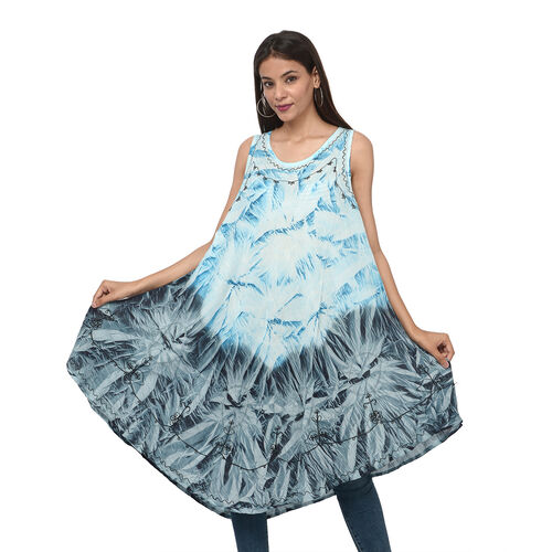 Summer Special- Embroidered Tie-Dye Round Neck Umbrella Dress (One Size; L-121cm x W-111cm) - Light