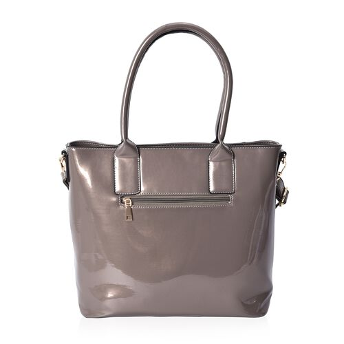 Silver Colour Tote Bag with Detachable Shoulder Strap and External Zipper Pocket (Size 39x29.5x13 Cm)