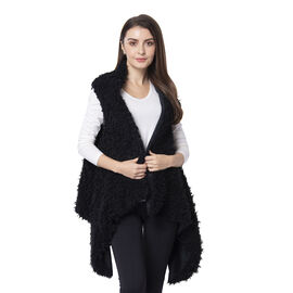 Designer Inspired-Black Colour Faux Fur Gilet (Size 155x75 Cm)