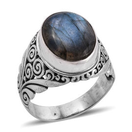 Royal Bali Collection Labradorite (Ovl 16x12 mm) Solitaire Ring in Sterling Silver 10.930 Ct, Silver wt 5.60 Gms.