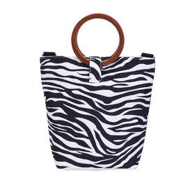 Impressive Zebra Head Pattern Tote Bag in Unique Wooden Handle Drops with Zipper Closure (Size:32x12x29Cm) - Black and White
