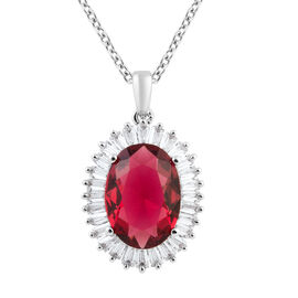 Simulated Ruby (Ovl 14x10 mm), Simulated Diamond Pendant in Silver Plated and Chain (Size 20) in Sta