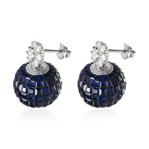 Lustro Stella - Mystery Setting Simulated Blue Sapphire and Simulated Diamond Earrings (with Push Back) in Rhodium Overlay Sterling Silver