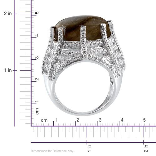 Labradorite (Ovl 12.00 Ct), Diamond Ring in Platinum Overlay Sterling Silver 12.010 Ct.