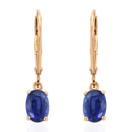 AAA Himalayan Kyanite (Ovl) Lever Back Earrings (with Clasp Lock) in 14K Gold Overlay Sterling Silve