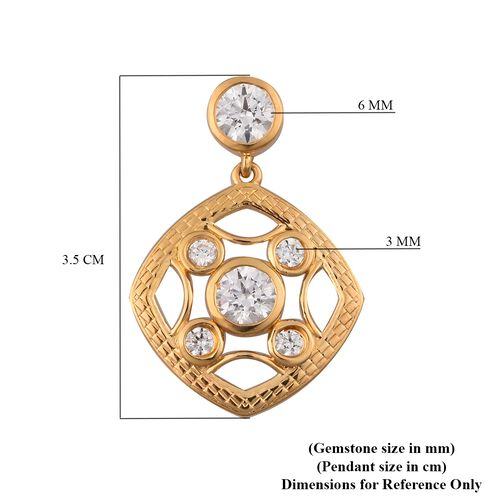 J Francis - 14K Gold Overlay Sterling Silver Pendant Made with SWAROVSKI ZIRCONIA 3.69 Ct.