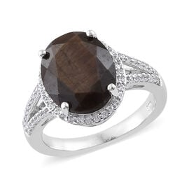 Zawadi Sapphire (Ovl 12x10 mm), Natural Cambodian Zircon Ring in Platinum Overlay Sterling Silver 6.