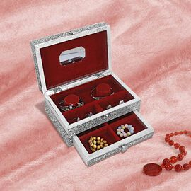3D Embossed Collection Handcrafted Butterfly Design Oxidised Jewellery Box with Drawer Chest (Size 2