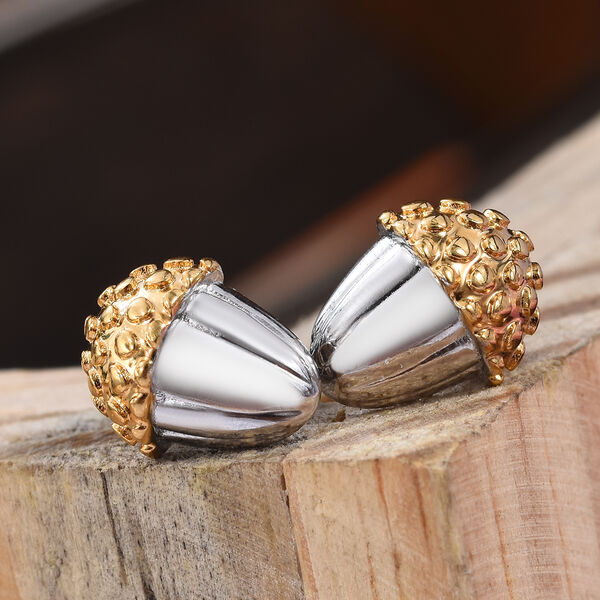 Platinum and Yellow Gold Overlay Sterling Silver Earrings