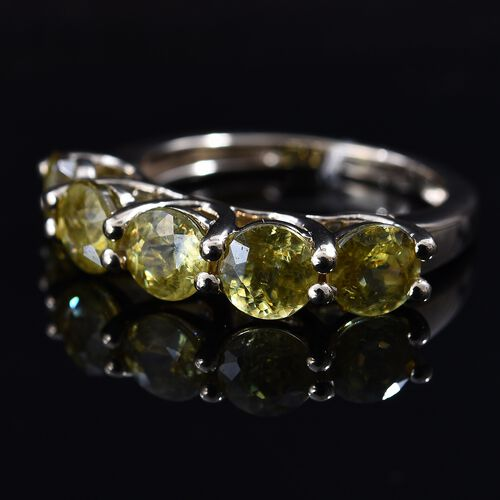 9K Yellow Gold AA Sava Sphene (Rnd 5 mm) Five Stone Ring 2.75 Ct.