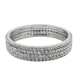 One Time Close Out - 4 Piece Set Simulated Diamond (Rnd) Bangle (Size 7) in Silver Tone
