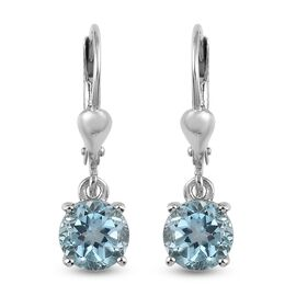 3 Carat AA Sky Blue Topaz Solitaire Drop Earrings in Platinum Plated Sterling Silver