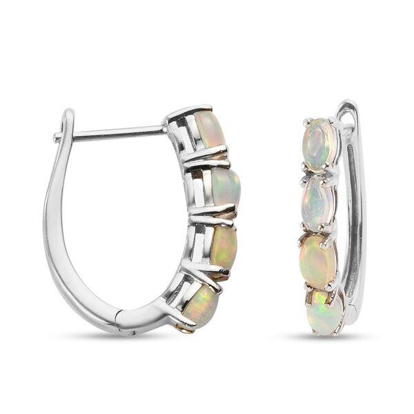 Ethiopian Welo Opal (Ovl) Hoop Earrings (with Clasp Lock) in Platinum Overlay Sterling Silver 1.16 Ct.