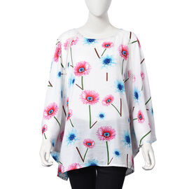 Floral Pattern One Size Fits All Apparel (Size 67x70 Cm) - White