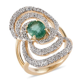 2.50 Carat AAA Zambian Emerald and Cambodian Zircon Contemporary Design Ring in 9K Gold 5.46 Grams