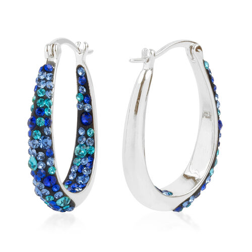 Blue Colour Austrian Crystal Earrings (with Clasp Lock) in Rhodium Plated.