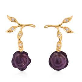 Jardin Collection Amethyst and Zircon Rose Vine Drop Floral Earrings in Gold Plated Sterling Silver