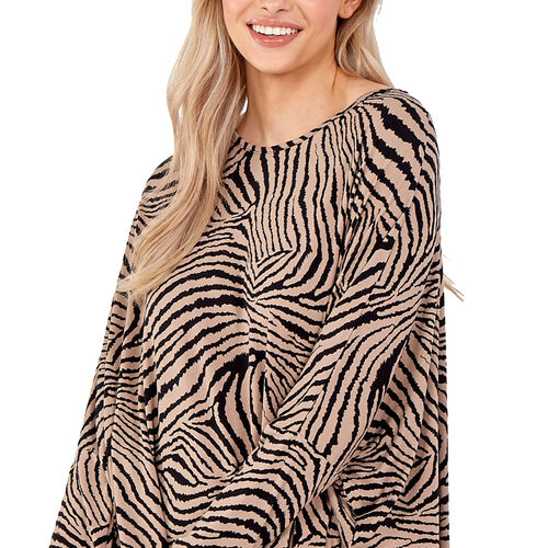 Nova of London - Stone and Black Zebra Loose Fitting Top (Size M/L, 16-18)
