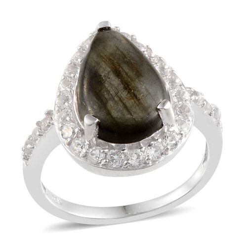 Labradorite (Pear 5.75 Ct), White Topaz Ring in Platinum Overlay Sterling Silver 6.900 Ct.
