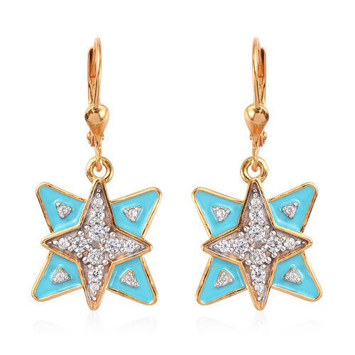 Natural Cambodian Zircon Enamelled Star Lever Back Earrings in 14K Gold Overlay Sterling Silver 1.00