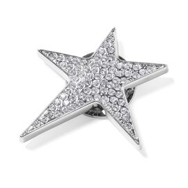 White Austrian Crystal (Rnd) Star Brooch in Silver Plated.
