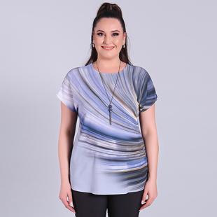 Jovie Comfortable Low Sleeve Top- Blue& Multi