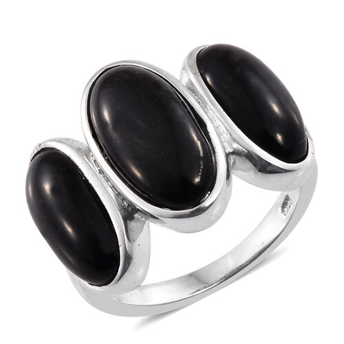 Shungite (Ovl 3.75 Ct) 3 Stone Ring in Platinum Overlay Sterling Silver 9.000 Ct. Silver wt. 5.91 Gms.
