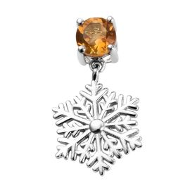 Citrine (Rnd) Snowflake Design Pendant in Platinum Overlay Sterling Silver 0.75 Ct.