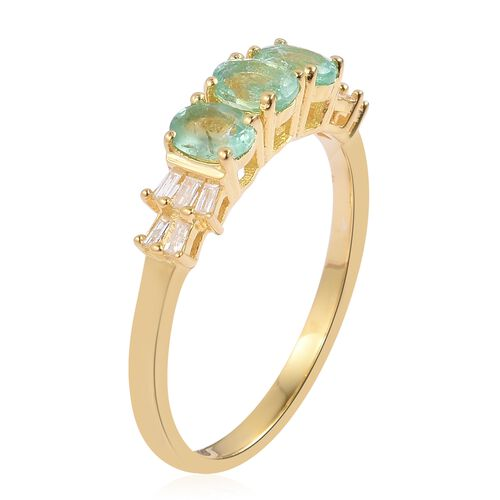Boyaca Colombian Emerald (Ovl), Diamond Ring in Yellow Gold Overlay Sterling Silver 1.100 Ct.