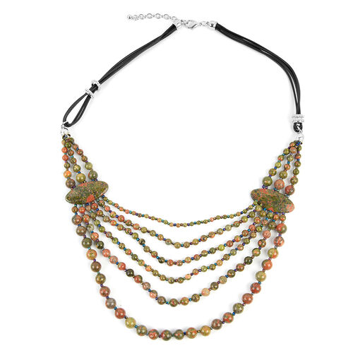 Unakite (Rnd), Multi Colour Simulated Gemstone BIB Necklace (Size 28 and 2.5 inch Extender) in Silve