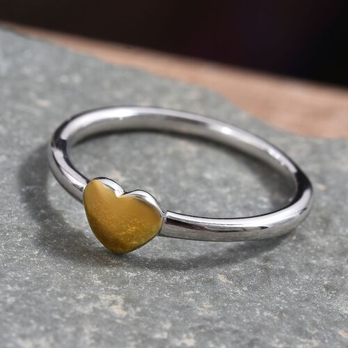 Platinum and Yellow Gold Overlay Sterling Silver Heart Ring