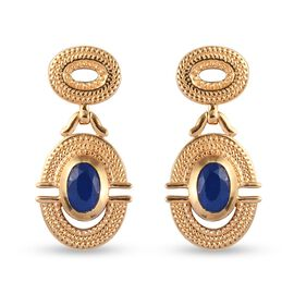 Tanzanian Blue Spinel Dangling Earrings (with Push Back) in 14K Gold Overlay Sterling Silver 1.25 Ct