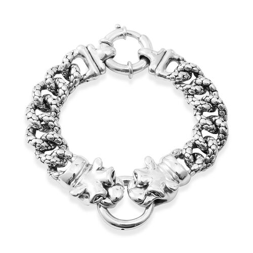 Designer Inspired Sterling Silver Panther Head Curb Bracelet (Size 7.75), Silver wt 30.30 Gms.