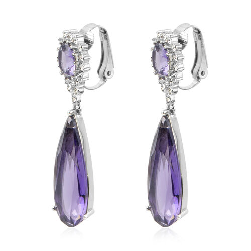 Designer Inspired- Simulated Amethyst (Pear), White Austrian Crystal Earrings (with Clasp Clip) in Stainless Steel