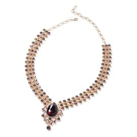 Simulated Red Garnet (Pear 29x20 mm), Multi Colour Austrian Crystal Necklace (Size 19) in Gold Tone