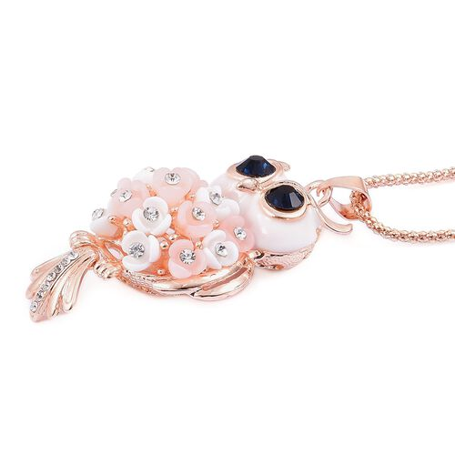 Blue and White Austrian Crystal Owl Pendant With Chain (Size 28) in Rose Gold Tone