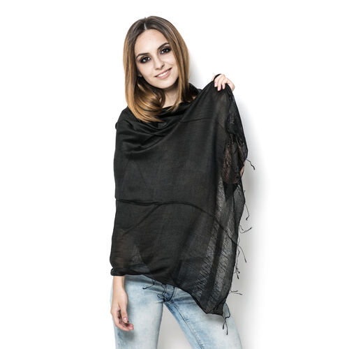 30% Silk and 70% Viscose Black Colour Shawl (Size 175x70 Cm)