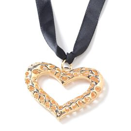 RACHEL GALLEY Lattice Heart Hanging/Bag Charm in Yellow Gold Tone