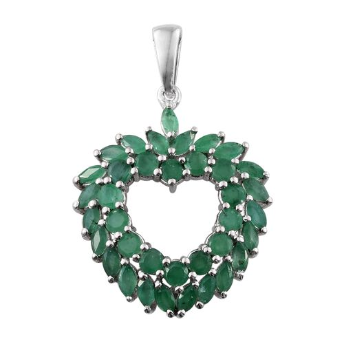 3.25 Ct Kagem Zambian Emerald Cluster Heart Pendant in Platinum Plated Silver