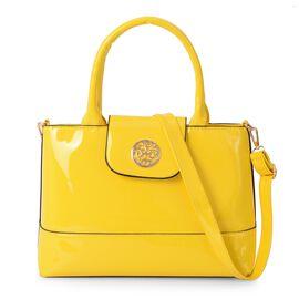 Boutique Collection Yellow Colour Tote Bag with Detachable Shoulder Strap (Size 32x11x23 Cm)