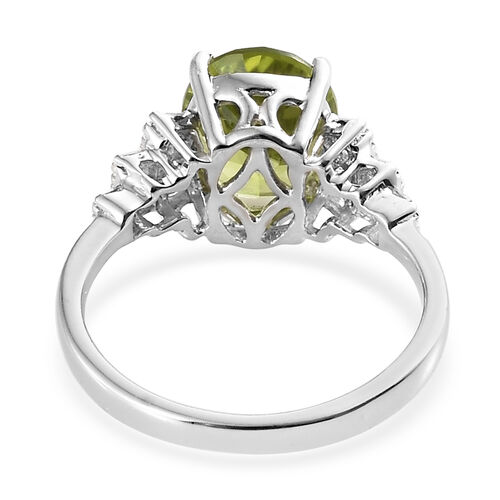 Hebei Peridot (Ovl 10x8mm) and Diamond Ring in Platinum Overlay Sterling Silver 3.000 Ct.