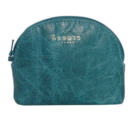 Assots London Lotty 100% Genuine Leather Zip Top Coin Purse in Ocean Blue (Size 10x2x8.5 Cm)
