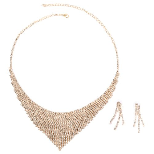 White Austrian Crystal (Rnd) Necklace (Size 22) and Earrings in Gold Plated