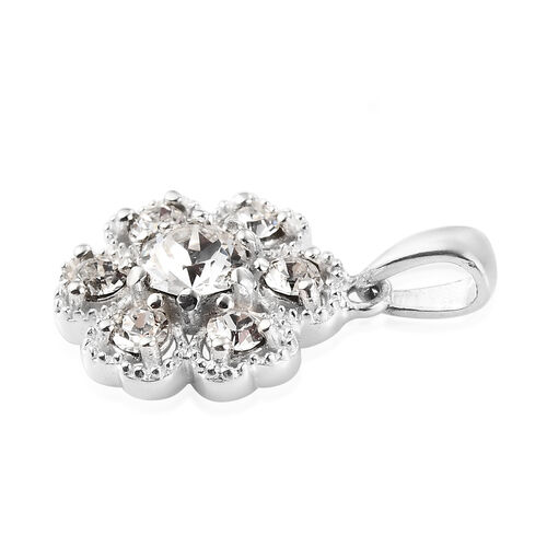 J Francis Crystal from Swarovski White Colour Crystal Cluster Pendant in Sterling Silver