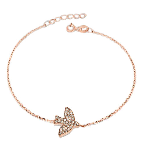 Rose Gold Overlay Sterling Silver Bird Bracelet (Size 7 with 0.75 inch Extender)