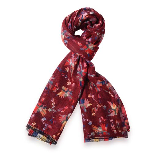 New Season-Red and Multi Colour Shawl with Rainbow Colour Small Bird Reversible Pattern (Size 180x65 Cm)