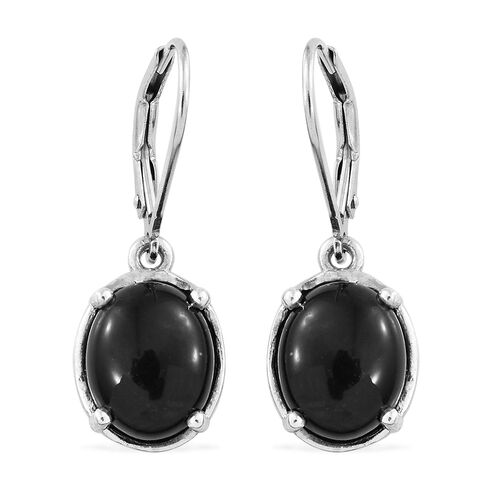 Shungite (Ovl) Lever Back Earrings in Platinum Overlay Sterling Silver 5.500 Ct.